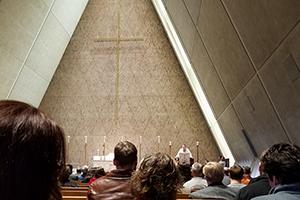 Worship service in Kramer Chapel.