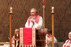 LCMS President Dr. Matthew Harrison preaching in Kramer Chapel
