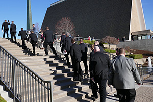 Candidates walk up the stairs toward Kramer Chapel, just before 2018 Call Service begins.