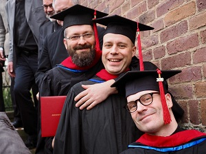 The STM graduates, from left to right: Rev. Romans Kurpnieks, Rev. Hannu Mikkonen, and Rev. Janne Koskela