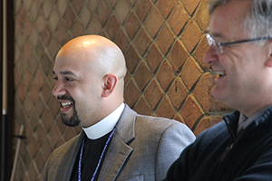 Director of Admission Rev. Matt Wietfeldt and Admission Counselor Rev. John Dreyer meet with students at PCV.