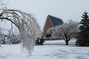 The campus and chapel following a February ice storm.