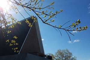 Kramer Chapel as spring starts to come to the trees outside.