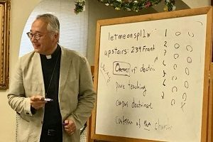 Dr. Masaki teaches at a continuing education site in Council Bluffs as a part of the CE series in the summer of 2018.